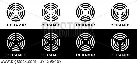 Ceramic Hob Symbol. Icon For Utensils, Pots And Frying Pan Surfaces. Kitchen Appliances Heating Type