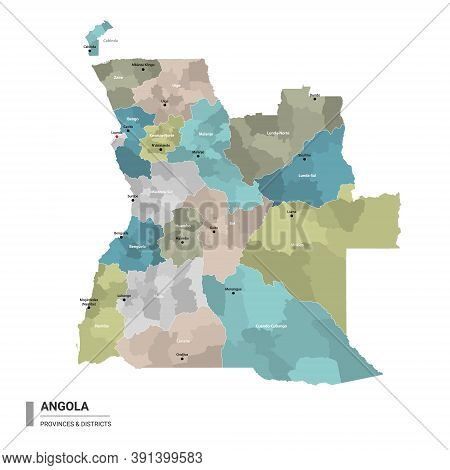 Angola Higt Detailed Map With Subdivisions. Administrative Map Of Angola With Districts And Cities N