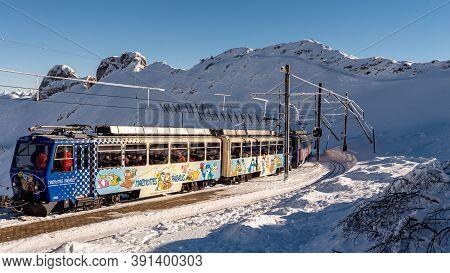 Rochers De Naye, Montreux / Switzerland - 12.15.2018: Marmots Paradise Cog Railway Train Carriage Ar