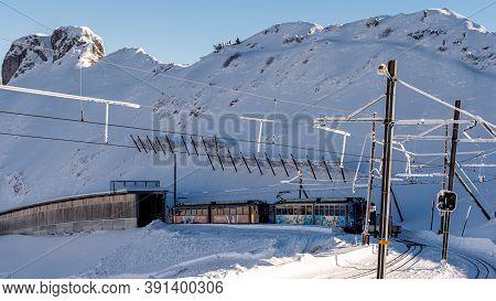 Rochers De Naye, Montreux / Switzerland - 12.15.2018: Marmots Paradise Cog Railway Train Carriage Le