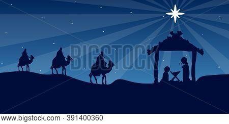 Wise Men Mary And Joseph In Bethlehem, Vector Art Illustration.