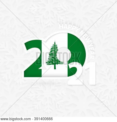 Happy New Year 2021 For Norfolk Island On Snowflake Background. Greeting Norfolk Island With New 202