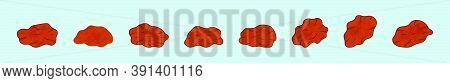 Set Of Raisin And Dry Cartoon Icon Design Template With Various Models. Vector Illustration Isolated