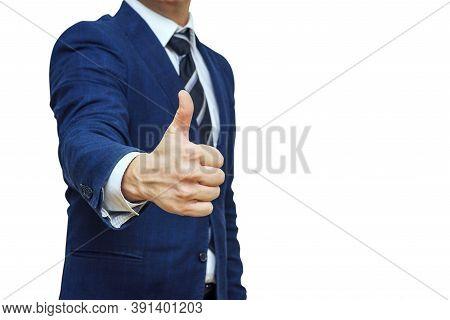 Businessman Shows Thumb Up Sign Gesture. Nonverbal Communication. Like, Ok, Perfect, Good Job, Prais