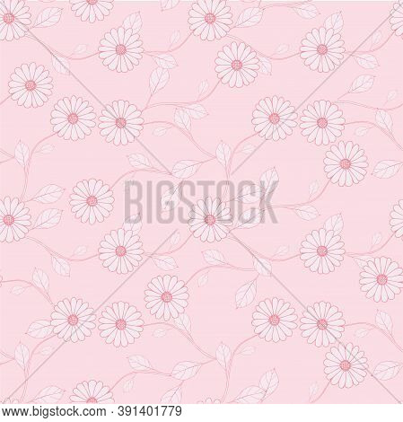 Outline Pink Leaves On Pink Seamless Background. Botanical Endless Pattern For Fabric Print, For Wal