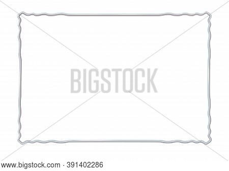 Rectangle Realistic Frame Metal Or Silver With Waved Corner Elements. Slender On White Background. S