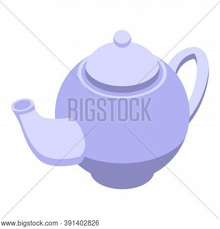 Porcelain Tea Pot Icon. Isometric Of Porcelain Tea Pot Vector Icon For Web Design Isolated On White