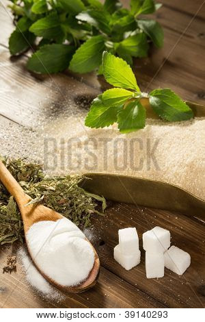 Unhealthy sugar on a wooden table together with natural sweetener stevia in powder, dried and fresh form