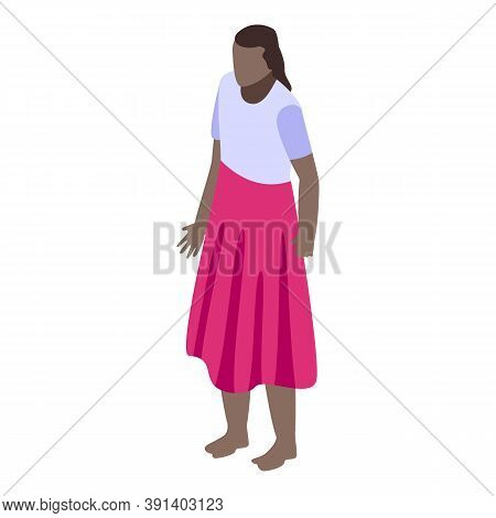 African Woman In Skirt Icon. Isometric Of African Woman In Skirt Vector Icon For Web Design Isolated