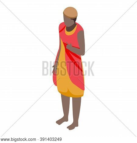 African Native Woman Icon. Isometric Of African Native Woman Vector Icon For Web Design Isolated On