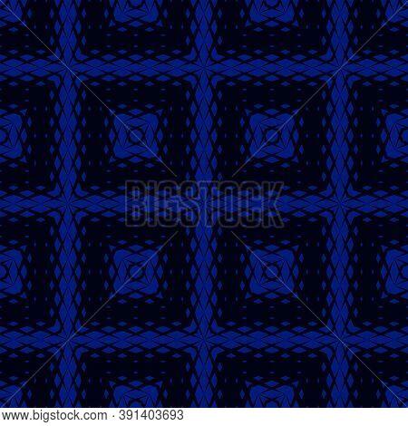 Vector Geometric Seamless Pattern With Rhombuses, Diamond Shapes, Grid, Net, Mesh, Gradient Illusion