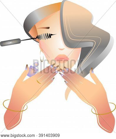 Makeup Artist With Mascara, Long Hair, Beautiful Woman In Her Hands With Mascara And Nail Polish.