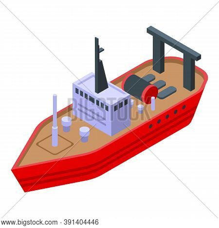 Ocean Fishing Ship Icon. Isometric Of Ocean Fishing Ship Vector Icon For Web Design Isolated On Whit