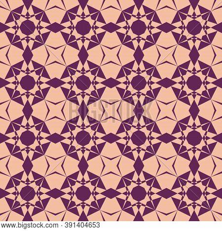 Vector Ornamental Geometric Seamless Pattern. Elegant Geometrical Texture In Orange And Purple Color