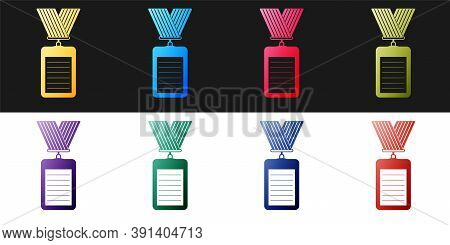 Set Identification Badge Icon Isolated On Black And White Background. Identification Card. It Can Be