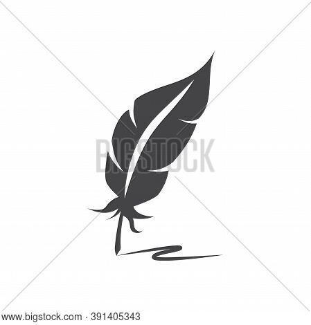 Quill Pen With Ink Trail Black Vector Icon. Bird Feather With Writing Track Symbol.