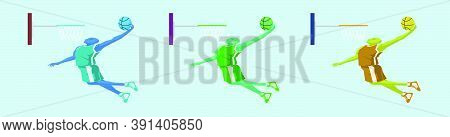 Set Of Basketball Player Jumps To Dunk Cartoon Icon Design Template With Various Models. Vector Illu