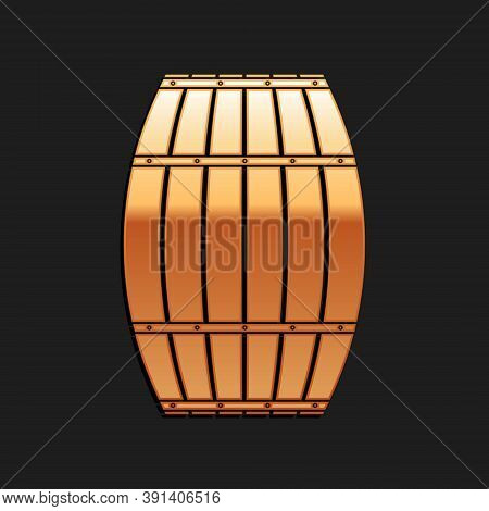 Gold Wooden Barrel Icon Isolated On Black Background. Alcohol Barrel, Drink Container, Wooden Keg Fo