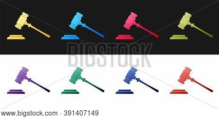 Set Judge Gavel Icon Isolated On Black And White Background. Gavel For Adjudication Of Sentences And