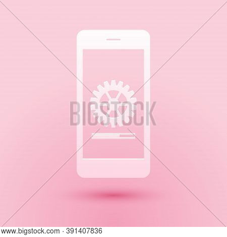 Paper Cut Smartphone Update Process With Gearbox Progress And Loading Bar Icon Isolated On Pink Back