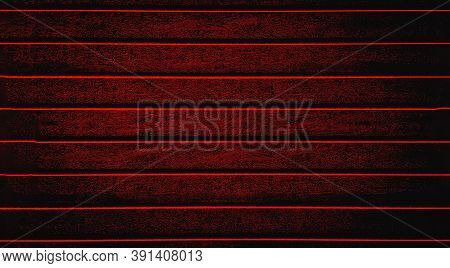 Red Background Texture The Fence, Siding. Plastic Fence Red Striped. Web Panorama Banner With Copy S