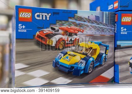 Tyumen, Russia-october 11, 2020: Lego City Construction Popular Game. Lego Is Extremely Popular Worl