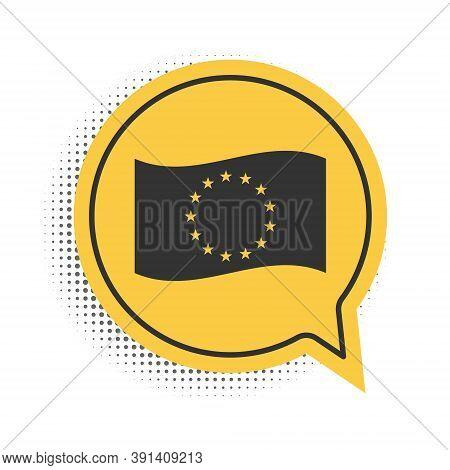Black Flag Of European Union Icon Isolated On White Background. Eu Circle Symbol. Waving Eu Flag. Ye