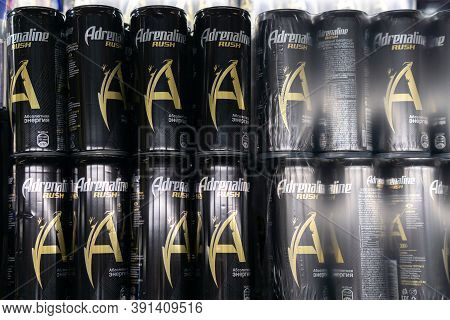 Tyumen, Russia-october 11, 2020: Energy Drinks Adrenaline Rush. Own Brand Adrenaline Rush Is A Compa
