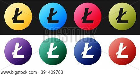Set Cryptocurrency Coin Litecoin Ltc Icon Isolated On Black And White Background. Digital Currency.