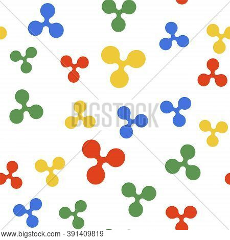 Color Cryptocurrency Coin Ripple Xrp Icon Isolated Seamless Pattern On White Background. Digital Cur