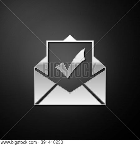 Silver Envelope With Document And Check Mark Icon Isolated On Black Background. Successful Email Del
