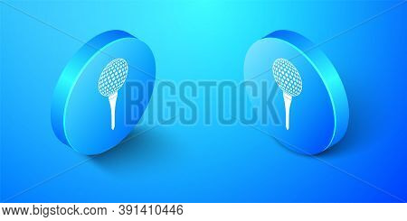 Isometric Golf Ball On Tee Icon Isolated On Blue Background. Blue Circle Button. Vector