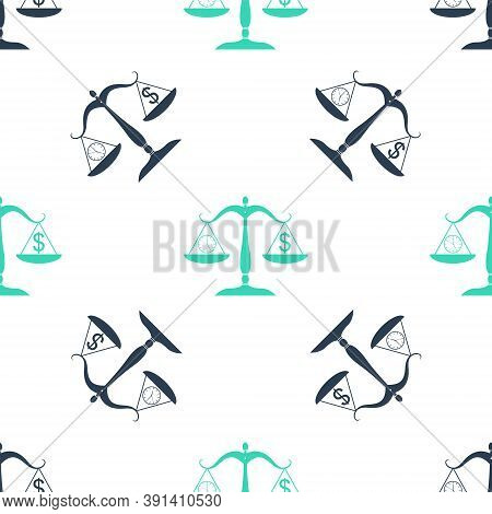 Green Scale Weighing Money And Time Icon Isolated Seamless Pattern On White Background. Scales With
