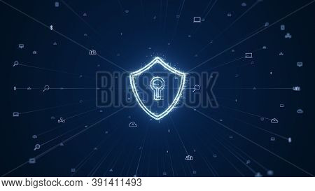 Cybersecurity Concept. Padlock With Keyhole Icon On Digital Data Background. Illustrates Cyber Data