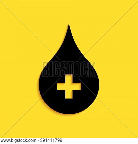 Black Blood Drop Icon Isolated On Yellow Background. Donate Drop Blood With Cross Sign. Donor Concep