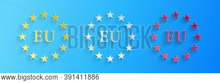 Paper Cut Flag Of European Union Icon Isolated On Blue Background. Eu Circle Symbol. Waving Eu Flag.