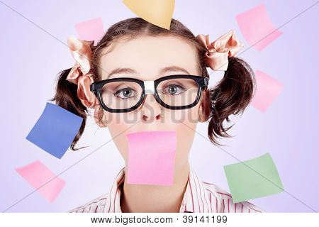 Business Womans Face Covered In Paper Reminders