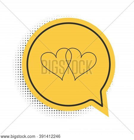 Black Two Linked Hearts Icon Isolated On White Background. Heart Two Love. Romantic Symbol Linked, J