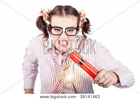 Nerd Business Woman Holding Exploding Time Bomb