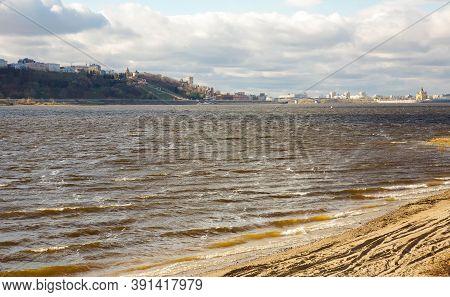 Autumn Storm On The Volga River Against The Background Of Nizhny Novgorod