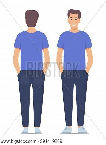 Beautiful Young Man Standing In Full Growth In Casual Clothes. Front And Back View, Isolated. Vector