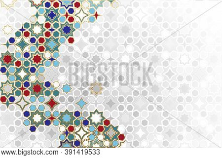 Seamless Islamic Ornamental Background In Color. Islamic Ornamental Colorful Detail Of Mosaic. Arabi