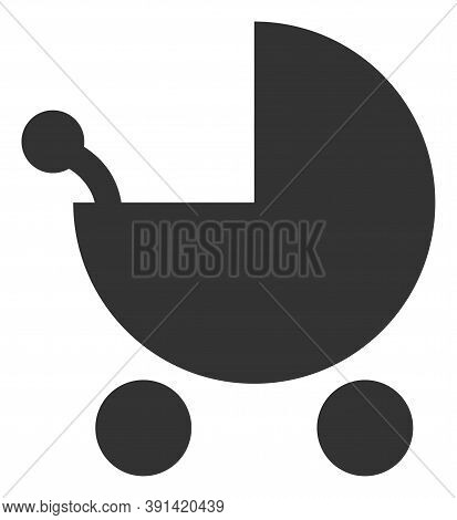Baby Carriage Icon On A White Background. Isolated Baby Carriage Symbol With Flat Style.