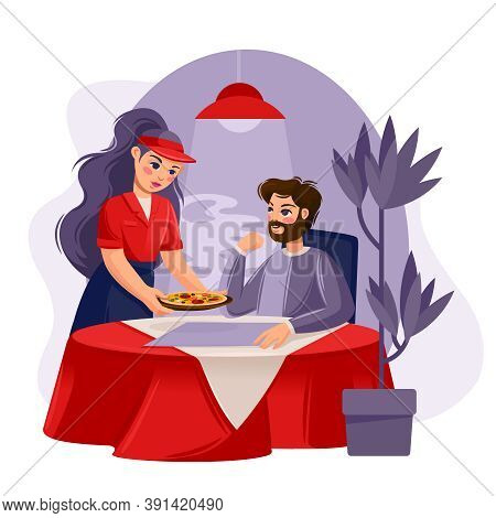Cartoon Color Characters People In Pizzeria Concept Flat Design Style. Vector Illustration Of Waiter