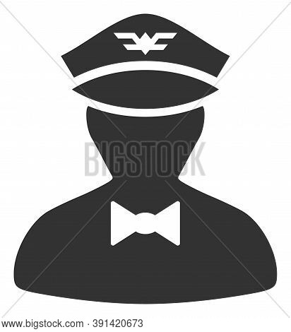 Flying Attendant Icon On A White Background. Isolated Flying Attendant Symbol With Flat Style.
