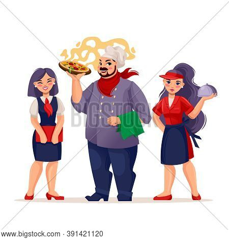 Cartoon Color Characters People Restaurant Team Concept Flat Design Style Include Of Chef, Waitress