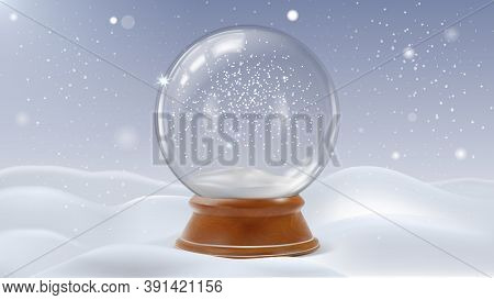 Realistic Detailed 3d Glass Christmas Snowglobe Winter Magic Decoration. Vector Illustration Of Snow