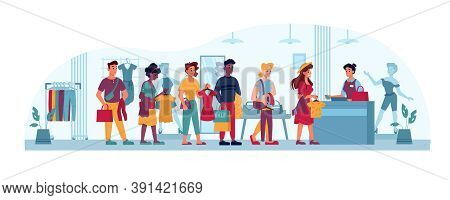 Queue In Clothing Store, People In Line To Cashier, Vector Flat Cartoon. People In Queue, Shopping B