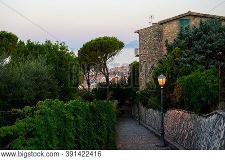 View On Medieval Small Touristic Coastal Town Sperlonga And Sea Shore, Latina, Italy On Sunrise