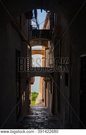 White Stairs And Old Houses In Medieval Small Touristic Coastal Town Sperlonga, Latina, Italy On Sun
